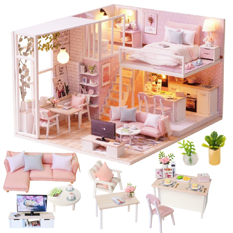 Cutebee Doll House Furniture Miniature Dollhouse DIY Miniature House Room Box Theatre Toys For Children Casa DIY Dollhouse L22C