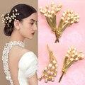 Ouro do vintage da moda barroca natural noiva se casou com acessório de cabelo pérola acessórios do casamento estilo