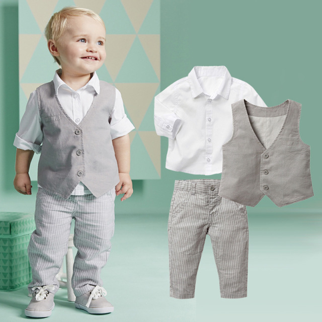 Infant Clothes Set Baby Boy Clothes White Long sleeve Shirt Gray Vest Pant 2Pcs Set New Born Baby Boy Clothing Set Baby Suits
