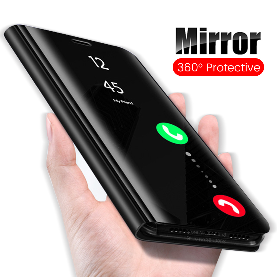 Mirror Smart View Flip Phone <font><b>Case</b></font> For <font><b>Huawei</b></font> y5 prime <font><b>2018</b></font> Standing <font><b>Case</b></font> For <font><b>Huawei</b></font> y6 prime y7 prime y9 2019 <font><b>2018</b></font> Coque Fundas image