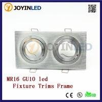 Free shipping brushed aluminum led fitting Double heads LED lamp holders GU10/MR16 Bulbs gimbal kits
