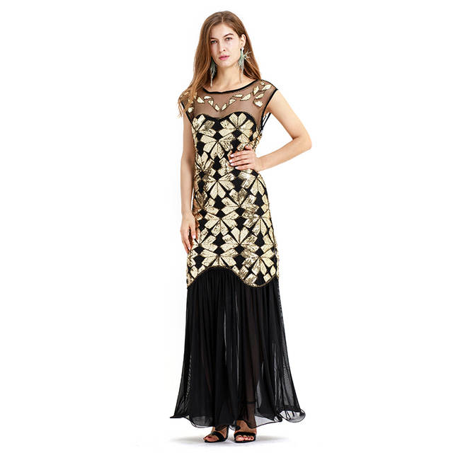 US $34.2 10% OFF|Sequins Latin Dance Dress Great Gatsby Dress Flapper Girls  Dresses Plus Size U Neck Sleevless Long Skirt Party Mini Dresses-in Latin  ...