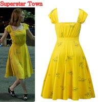 La La Land Emma Stone Mia Cosplay Yellow Elegant Ladies Beauty Women Long Party Dresses Summer