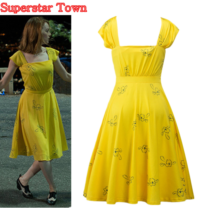 La La Land Emma Stone Mia Cosplay Yellow Elegant Ladies Beauty Women Long Party Dresses Summer Style Women Dresses Costumes