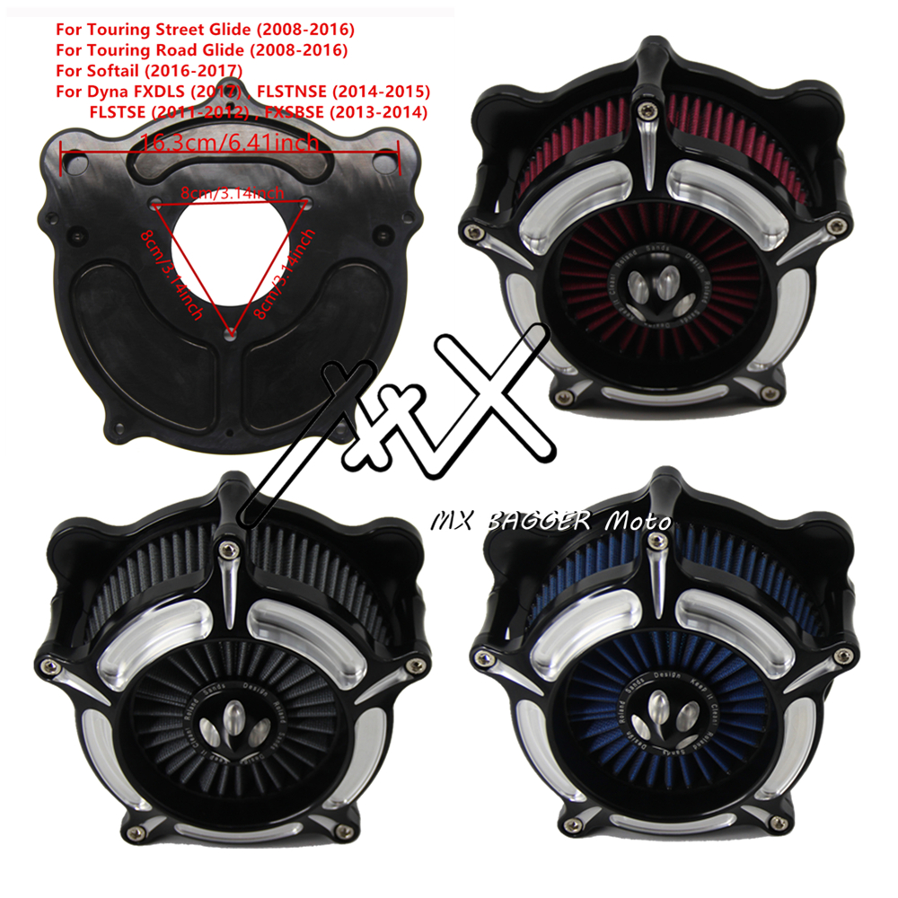 RSD Motorcycle Turbine Chrome Air Cleaner Intake Gray Red Blue Filter Kit For Harley Touring Street Glide 08-16 Softail 2016-17 Harley-Davidson Sportster