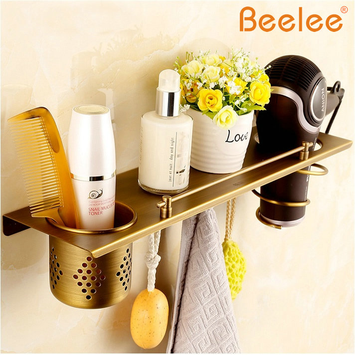 Beelee Brass Bathroom shelf hair dryer rack with cup hair dryer rack Households Rack Hair Blow Dryer Holder Antique Brass hair dryer holder antique brass hair blow dryer holder bathroom shelf rack wall mounted washroom accessories bath stand et 300