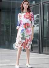 New 2019 summer runways floral print chffion dress Fashion womens half sleeve A110