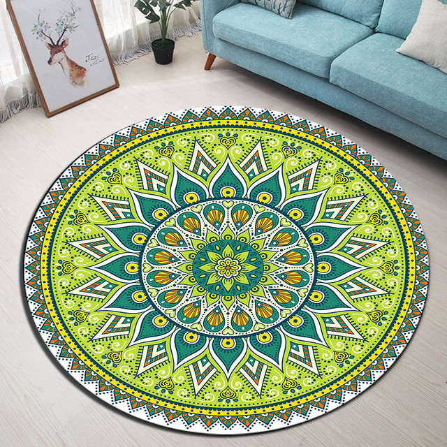 Tapis sol ronds Oriental Vert Salon Chambre
