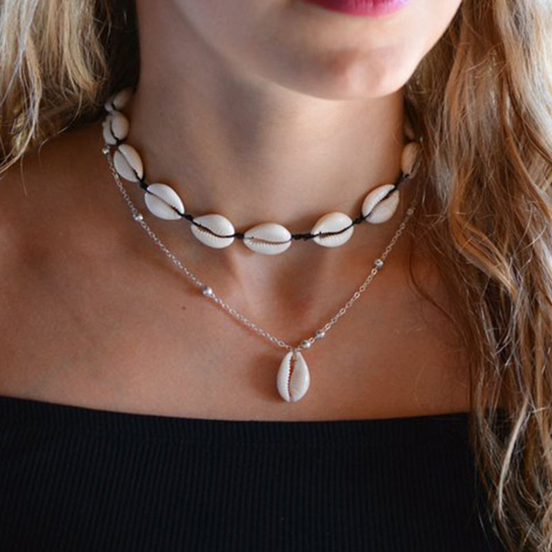 Bohemia Blue Acrylic Beads Ox Horn Moon Pendant Necklaces Women Vintage Natural Sea Shell Choker Necklace Collar Jewelry YN519 in Choker Necklaces from Jewelry Accessories