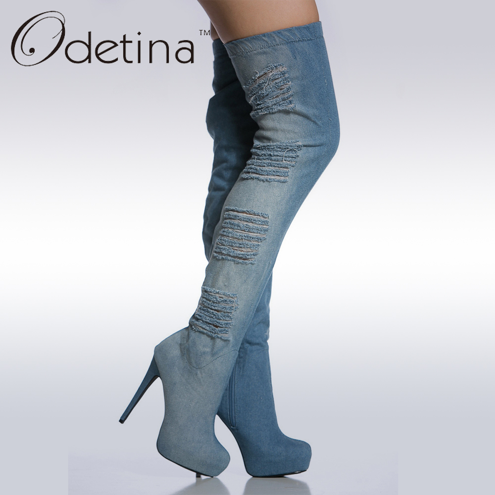 Odetina Brand Fashion Women Blue Summer Jeans Boots Platform Thigh High Denim Boots High Heel Over The Knee Boots stiletto Heel men s cowboy jeans fashion blue jeans pant men plus sizes regular slim fit denim jean pants male high quality brand jeans