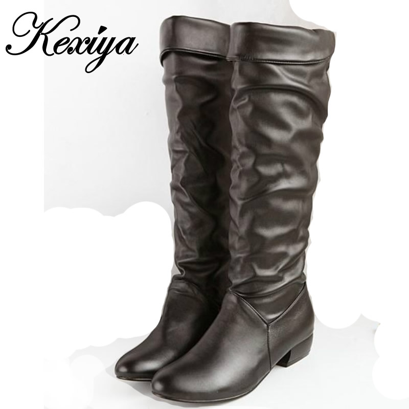 Plus size 34-43 fashion winter women shoes comfortable Round Toe low heel botas solid PU leather Slip-On Knee High boots HH-Z-7 chic multilayer carving key long pendant necklace for women
