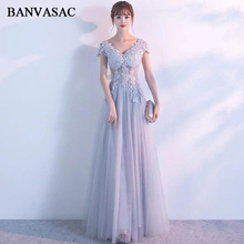 BANVASAC 2018 A Line V Neck Lace Appliques Long Evening Dresses Party Crystal Short Sleeve Illusion Backless Prom Gowns