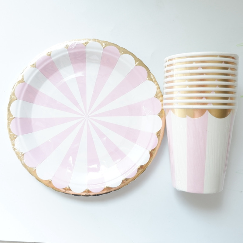 20pcs/lot Gold Pink Striped Disposable Tableware Party Paper Plates Baby Shower Birthday Party Supplies Paper Cups Tableware-in Disposable Party Tableware from Home & Garden