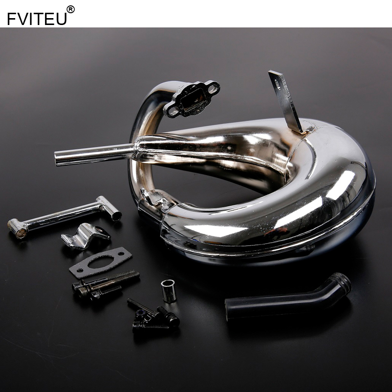 FVITEU Chrome Vortex tuned pipe exhaust pipe for Rovan 1/5 scale gas LT truck LOSI 5IVE-T