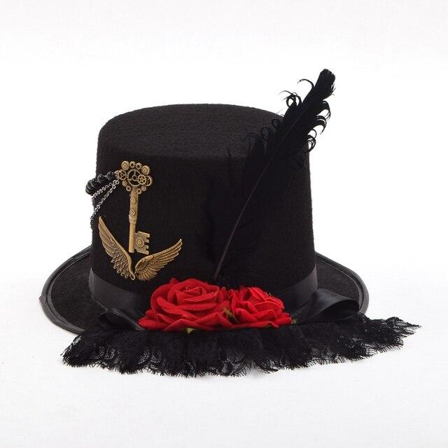 Шляпа в стиле стимпанк с розами и пером 3