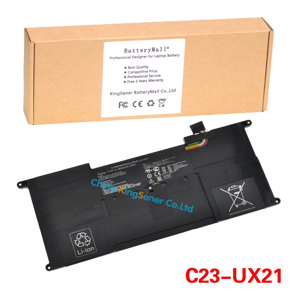 Genuine Original New Laptop Battery C23-UX21 for ASUS Zenbook UX21 UX21A UX21E Ultrabook 7.4V 4800mAh Free 2 Years Warranty