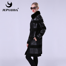 JEPLUDA Women's Leather Coat Stand Collar Rex Rabbit Detachable Jacket Genuine Leather Natural Sheepskin And Suede Mixed Strip