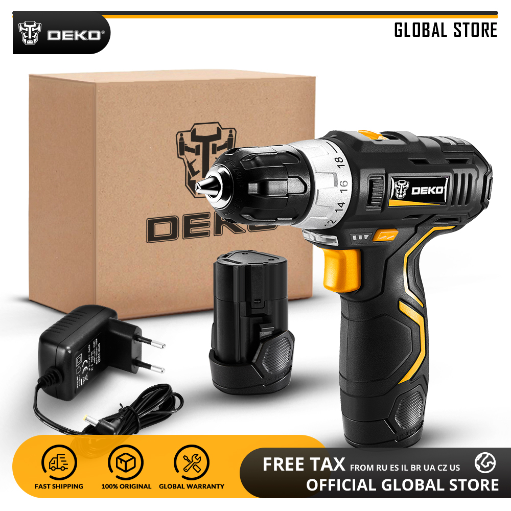 DEKO GCD12DU3 12V Max Household Power Tool Electric Screwdriver with LED Light 2 Speed Cordless Drill