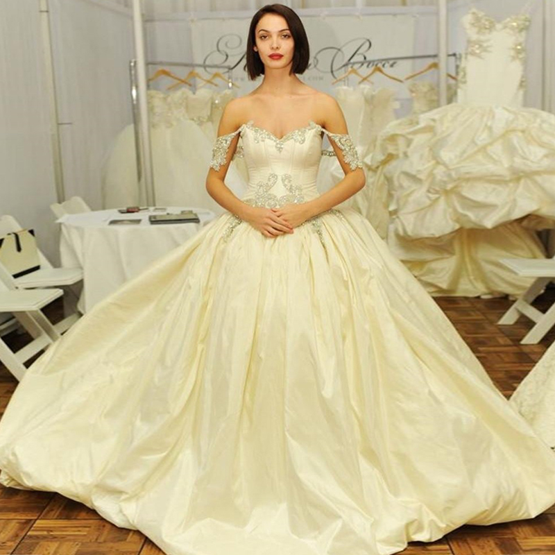 Elegant Princess Cut Wedding Gown Real Pictures Customized