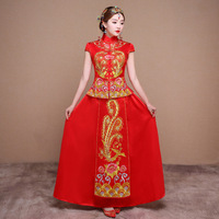 2017 Bride Red Chinese Wedding Dress Cheongsam Long Qipao Women Phoenix Embroidery Oriental Collars Traditional Evening Gown