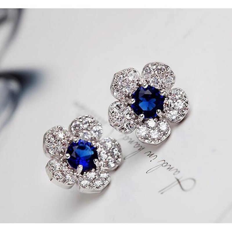 Hypoallergenic แฟชั่นสีเงินต่างหูดอกไม้สีฟ้าคริสตัลต่างหูประณีตเต็มรูปแบบของคริสตัลต่างหูต่างหูหญิง