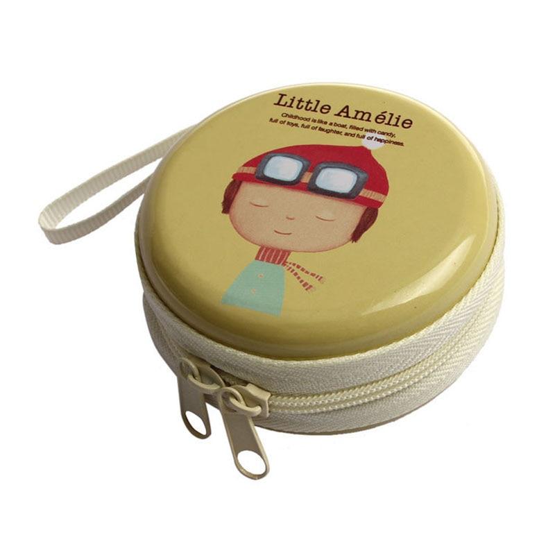 Cartoon Mini Zipper Bag Earphone Headphone Box SD Card Box Bag Carrying Pouch Storage yellow