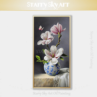Top Artist Hand painted Realist Flower in Vase Oil Painting Beauty Chinese Blue and White Porcelain Oil Painting for Living Room