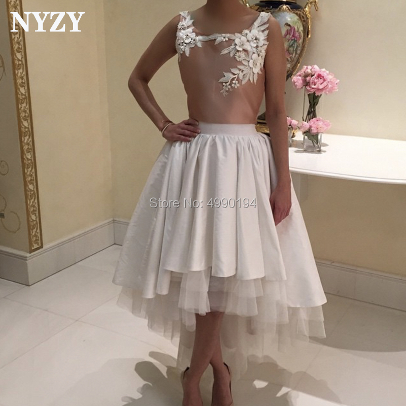 NYZY C151 Robe Soiree Dubai High Low Short Front Long Back Party Gown Vestido   Cocktail     Dresses   2019