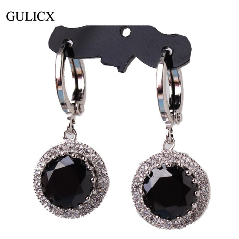 GULICX 2017 Fashion White Gold-colour Earing Black Crystal CZ Zircon Dangle Drop Long Ականջօղեր կանանց համար Հարսանեկան զարդեր E040