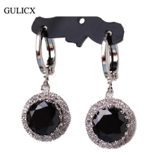 GULICX 2017 Fashion White Gold-color Earing Black Crystal CZ Zircon Dangle Drop Long Earring for women Wedding Jewelry E040(China)