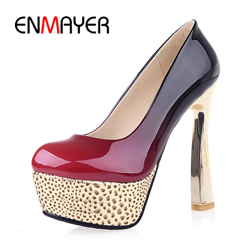 ФОТО ENMAYER Sexy Red Shoes Woman Super High Heels Platform Shoes Slip-on Gladiator in Women's Shoes Round Toe Small Size 33 Pumps