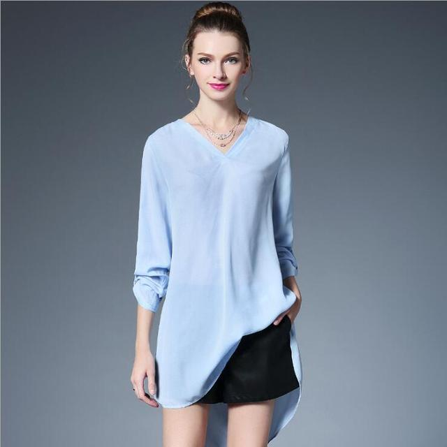 be5ee87d9f 2017 Spring Women Clothing Loose Blouse Shirt Femme Plus Size Light Blue  Top V-Neck Long SLeeve Casual Office Shirt Women New