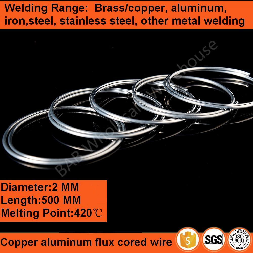 Fil fourré de flux d'aluminium de cuivre de 2mm * 500mm utilisé pour souder le laiton/cuivre, aluminium, fer, acier, acier inoxydable, autre soudure en métal