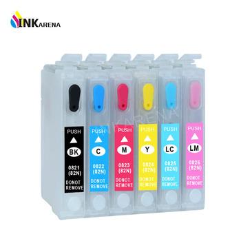 T0821N 82N do projektora Epson T0821 drukarki kartridż do Epson Stylus R270 R390 RX590 TX700W TX800W T50 TX720 TX700 TX800 RX610 drukarki tanie i dobre opinie INKARENA Pusty For Epson T0821N Ink Cartridge Kompatybilny Wkład atramentowy For Epson t0821 printer cartridge 12ml per each color