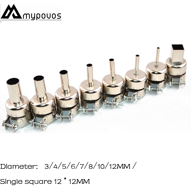 MYPOVOS 8/pcs Hot Air Gun Soldering Station Round BGA Nozzle For AOYUE QUICK ATTEN SAIKE 850/852 Series BGA SMD 3/4/5/6/8/10/12M