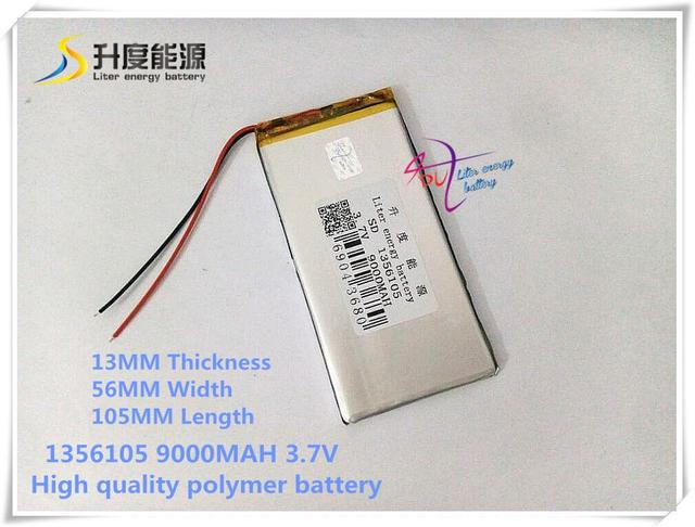 3.7V 9000mAH SD 1356105  (polymer lithium ion battery ) Li-ion battery for power bank,tablet pc,gps,dvd,e-book,mp3,mp4
