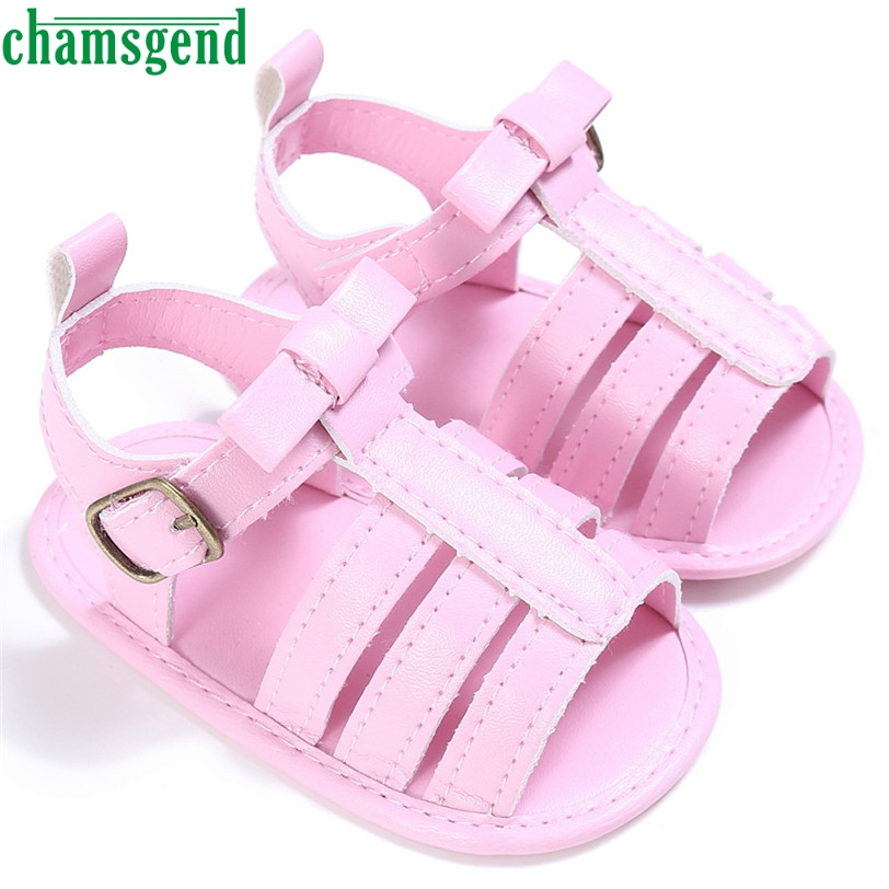 CHAMSGEND Best Seller drop ship Baby Toddler Girls Cute Crib Shoes T-tied Soft Prewalker Soft Sole Anti-Slip Shoes S35