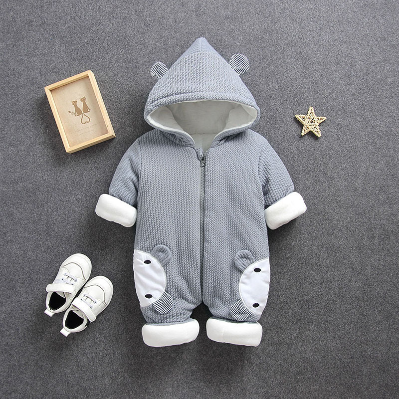 6a2e87300ecf5 baby body suits romper bear bunny fleece cotton infant winter Newborn boy  girl toddler warm thicken knitted jump suit 3 6 9 12m-in Rompers from  Mother ...