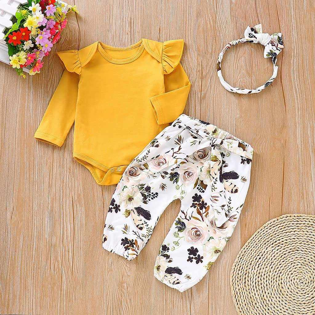 3 adet Yenidoğan Bebek Kız Giysileri fly kol romper + çiçek pantolon + kafa giyim sonbahar giyim 0-24 m roupa menina Yeni 2019