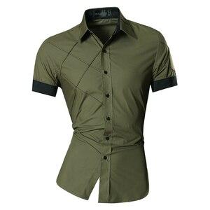 Image 2 - Мужская Летняя Модная приталенная рубашка с геометрическим орнаментом, разные цвета