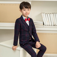 LUOBOBEIBEI Baby Boy Suits Wedding Blazer Formal Boy Clothes Plaid Kids Tuxedo Black Brown Party Suits for Flower Children