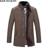 New Mens autumn winter warm Woolen coats Jackets men 2018 men's wool & blends fur collar coat slim fit ourwear Plus Size M 3XL