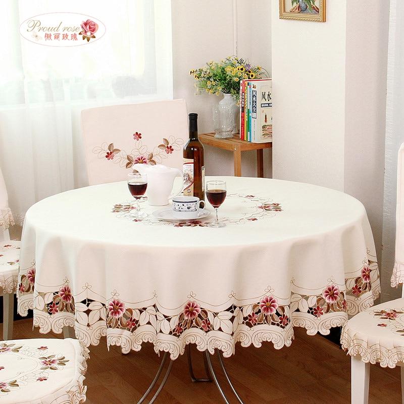 자랑스러운 로즈 하이 엔드 정교한 자수 라운드 테이블 천을 가정용 천으로 아트 라운드 식탁보 유럽 장식 테이블 천을