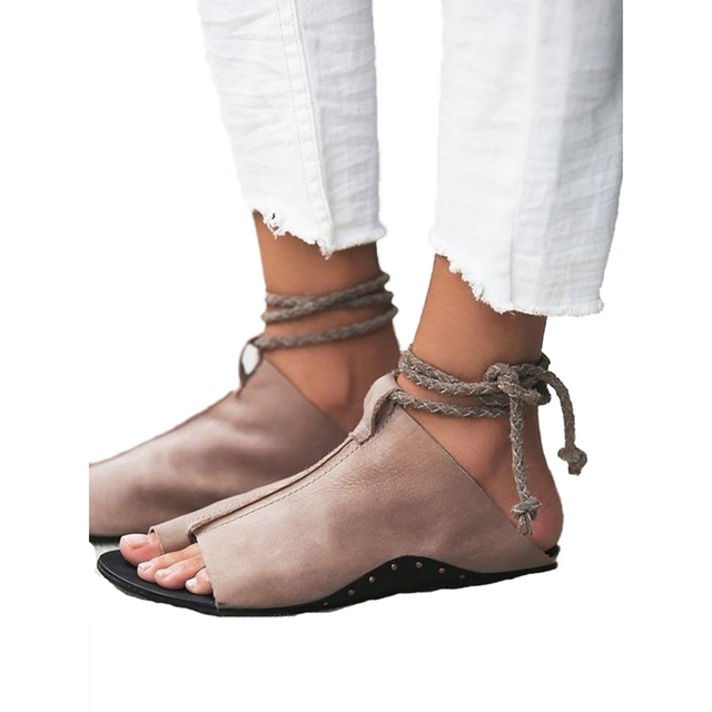 a1d5d863d805 summer sandals women flats vintage rome style casual flat shoes ankle strap  beach femme 2018 lace up sandal zapatos mujer