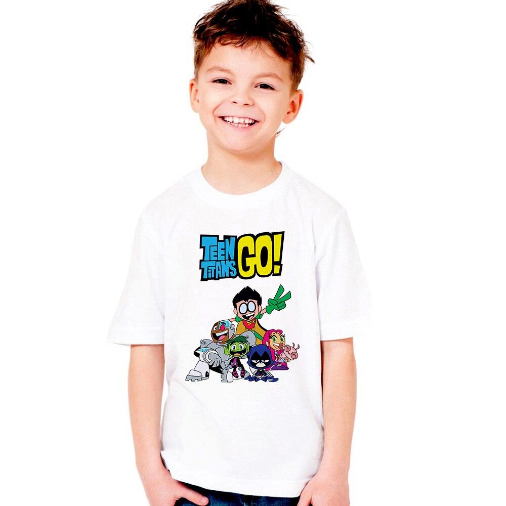От 1 до 12 лет мальчики и девочки Teen Titans Go мультфильм печатных футболка детей большой Повседневное топы с короткими рукавами милая детская фу...
