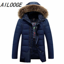 2016 New Fashion Men's Down Jacket Mens Brand Winter Coat With Hooded Natural Fur Collar Brand Clothing Casual Down Coat