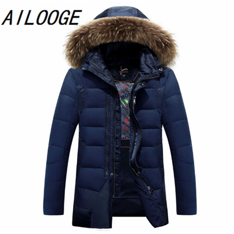 2016 New Fashion Mens Down Jacket Mens Brand Winter Coat With Hooded Natural Fur Collar Brand Clothing Casual Down Coat