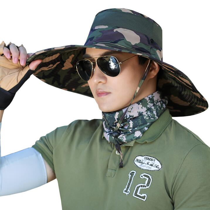 681e5514916 14cm large Brim Sun Hat for men women Summer Beach Bucket Hat Fishing  Hiking Outdoor Sports UV Protective Boonie Camouflage-in Sun Hats from  Apparel ...