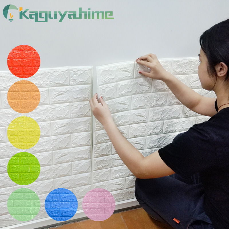Kaguyahime 3D Self-Adhesive Wallpaper Brick DIY Waterproof Wall Stickers Decor Wallpaper For Living Room Kitchen Wall Sticker
