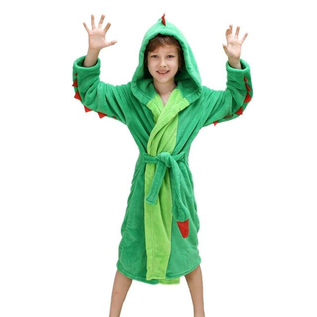 Best Home /& Baby Boys Girls Hooded Crocodile Dinosaur Bathrobe Robe Dressing Gown Nightwear Fleece Attached Belt Knee High Length Unisex